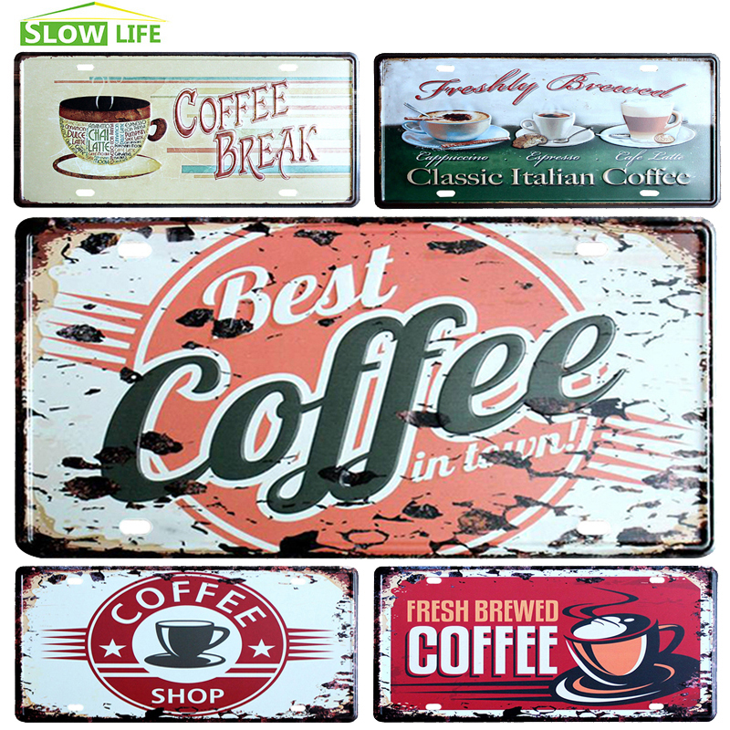 Coffee Car License Metal Plate Vintage Home Decor Tin Sign Bar Pub Cafe Decorative Metal Sign Metal Plaque Metal Art Poster