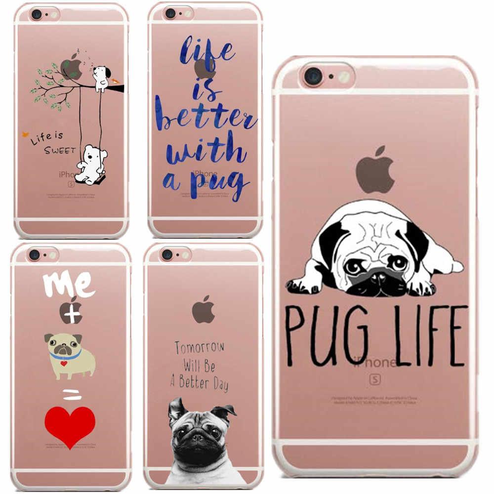 Amanhã Será UM Dia Melhor vida Pug cão dos desenhos animados Macio TPU Capa Para iphone 5 5S SE 6 6 s além de 7 8 7 Plus Phone Cases Para iphone