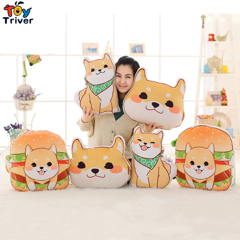 1pc Plush Japan Anime Corgi Pet Shiba Inu Dog Head Hamburger Toy Cushion Hands Warmer Pillow Birthday Gift Home Shop Decoration candice guo cute plush toy anime corgi pet shiba dog head hamburger cushion hand warm pillow birthday christmas gift 1pc