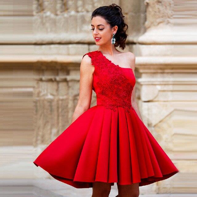 8479ed985 Octavo grado vestidos de baile barato red one hombro vestidos de fiesta con  el cordón satinado