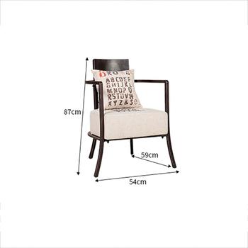 Amerykańska Retro Sofa krzesło pojedyncze Bar kawiarnia Hall rozrywka sztuki żelaza krzesło tkaniny Art poduszka krzesło z oparciem wyposażenia wnętrz do dekoracji wnętrz tanie i dobre opinie Meble do domu Jadalnia krzesło Jadalnia meble pokojowe Fire Rong Yuan