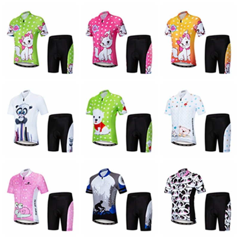 2019 Cycling Jersey kids Bike jersey Shorts Set pro Children MTB mountain  road Tops Girls Boy a6c95cb46