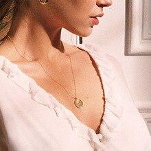 Ожерелье с круглой подвеской из золотого сплава для женщин, простое женское длинное ожерелье с цепочкой, колье с розами