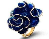 Österreich Kristall & Blue Emaille Ring Big Rose Schmuck Valentinstag Geschenk Für Frauen Romantische Stil Frauen Geschenke Blume Ringe RJZ0017