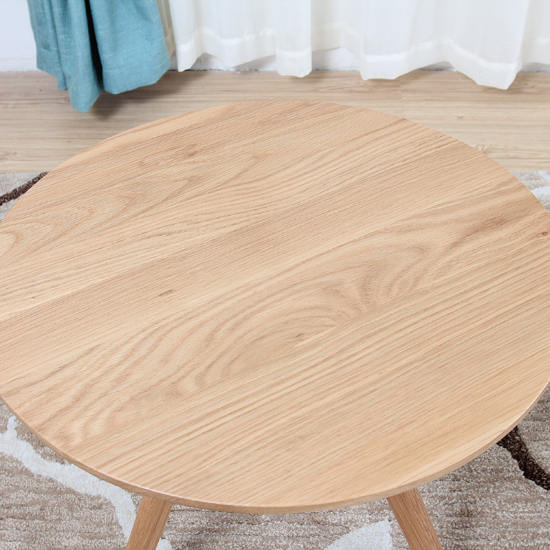 Small coffee table wood tea table simple round oak coffee table