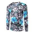2017 nueva llegada de los hombres casual camiseta de manga larga de desgaste del otoño masculino delgado 3d camiseta de impresión de alta calidad clothing