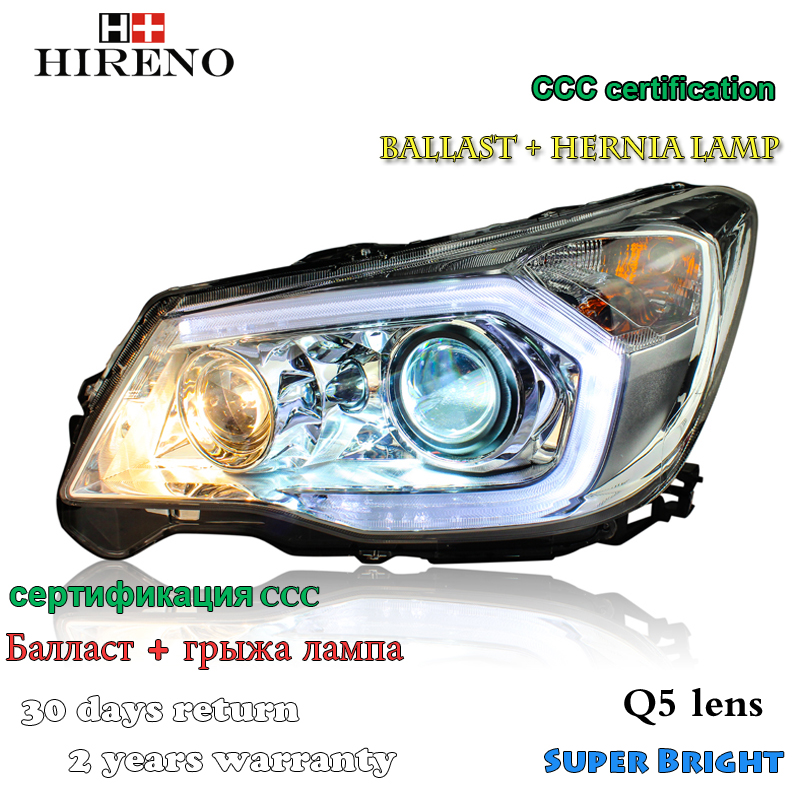 HirenHireno Headlamp for 2013-2015 Subaru Forester Headlight Assembly LED DRL Angel Lens Double Beam HID Xenon 2pcs