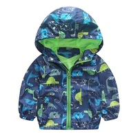 Autumn Cute Animal Printed Windbreaker Kids Jacket Boys Outerwear Coats Kids Hooded Children Clothing Korean Style