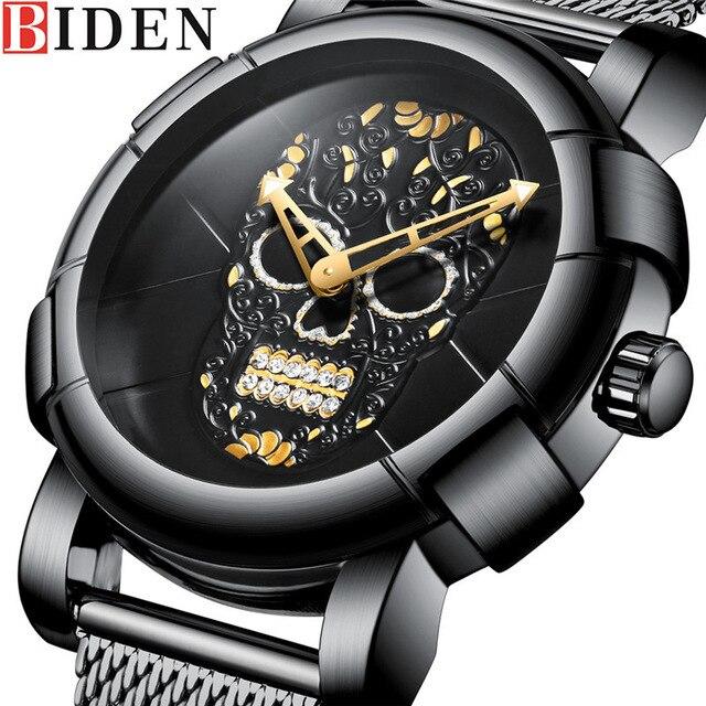 ea17ae37e7f BIDEN Homens Assistir Top Marca de Luxo Esporte Relógios Dos Homens Teste  Padrão Do Crânio de