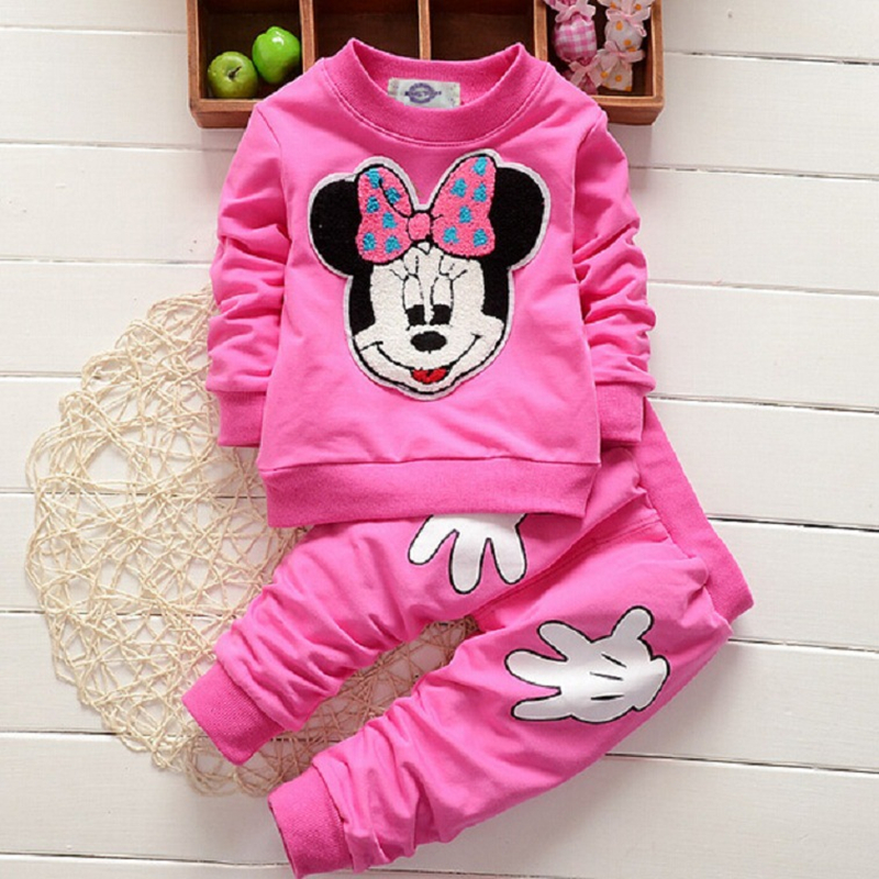 Baby Girls Cartoon Mickey Minnie Childrens Clothing Spring Autumn Kids Cotton Long Sleeve 2pcs Infant Outfits Childrens Sets ...