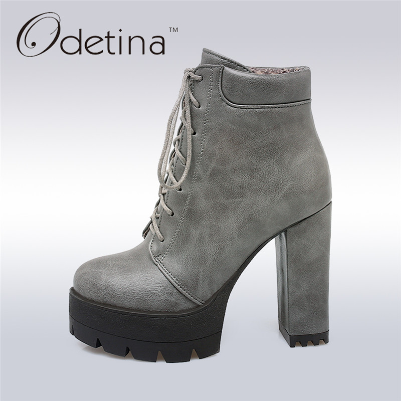 Odetina 2017 New Elegant Ankle Boots Women Square Thick Heel Platform Boots Lace Up Ankle Booties High Heels Fashion Shoes Work plus size platform high heels boots lace up chunky heel ankle boots for women new fashion booties martin shoes woman black