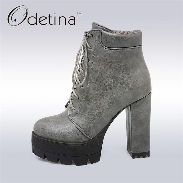 Odetina/Новинка 2017 года, Элегантные ботильоны, женские ботинки на платформе с толстым квадратным каблуком, ботильоны на шнуровке, модная обувь на высоком каблуке для работы