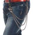 8 мм Новых Людей 3 Пряди Gunmetal Череп Головы Байкер Дружище Джинсы ключ Бумажника Цепи Панк Скелет Мужчины Хип-Хоп Талии Цепочку KB70