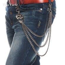 8mm Nuevo Mens 3 Strands Gunmetal Cráneo Cabeza Camionero Biker Jeans Carpeta dominante Cadena Punk Skeleton Hombres Hip Hop Cadena de La Cintura KB70