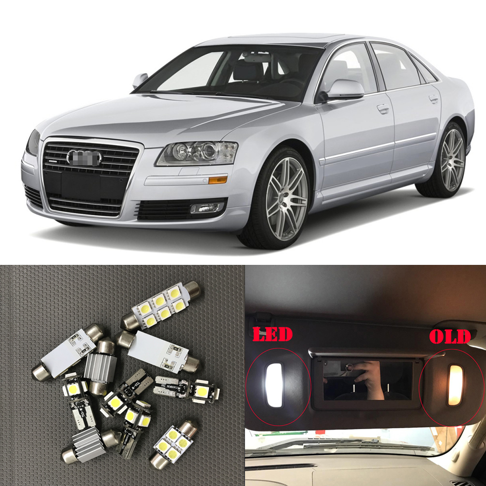 US $20 7 10% OFF|23x White Interior LED Light Bulbs Canbus Kit For 2002  2010 Audi A8 D3 Accessories Map Door Glove Box License plate light Lamp-in
