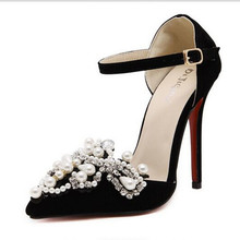 Pearl Crystal Princess Pointed Toe Suede Ankle Strap Dress Sandal Pumps Rhinestones Embellishment Party Stiletto High Heels