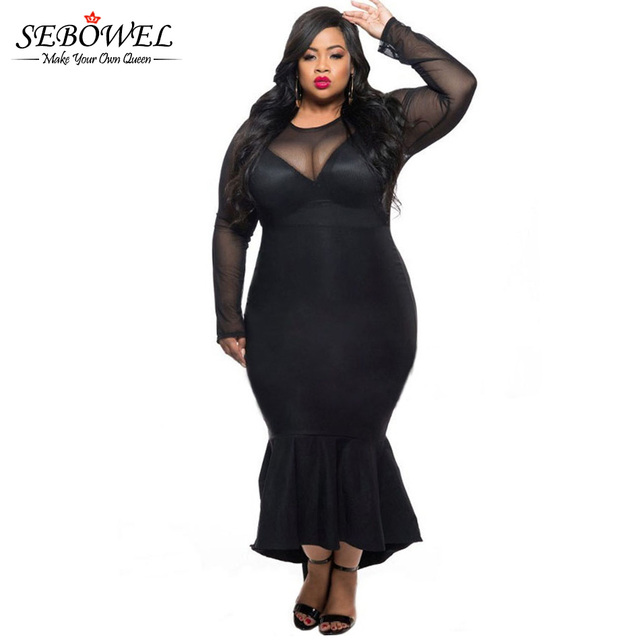 Winter Autumn Mermaid Evening Long Party Dress Black See Through Mesh Long Sleeve Sexy Plus Size Dress XXXL Women Clothing