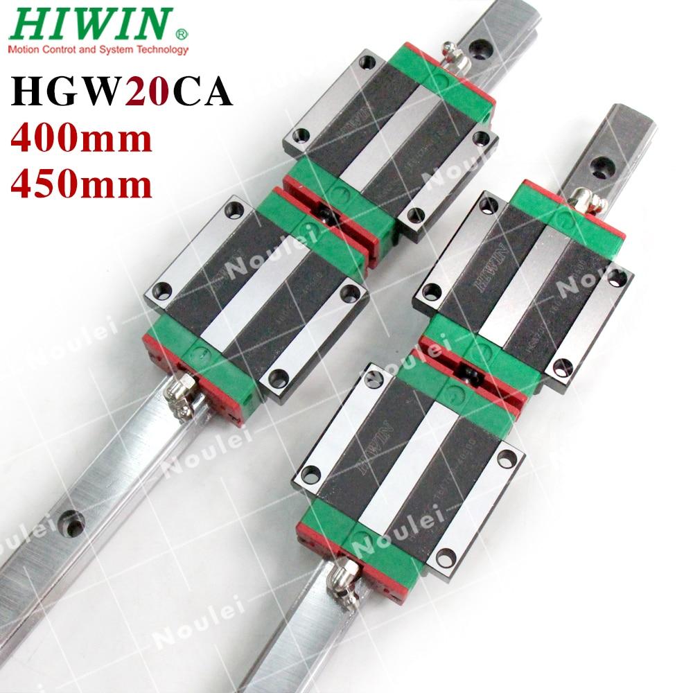 HIWIN 2pcs 400mm HGR20 Linear Rail + 4pcs HGW20CC CNC Linear Guide Rail Block HGW20 450mmHIWIN 2pcs 400mm HGR20 Linear Rail + 4pcs HGW20CC CNC Linear Guide Rail Block HGW20 450mm