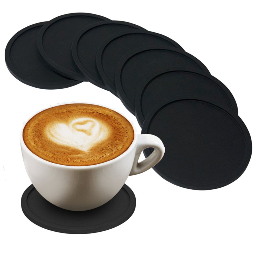 Silicone Drink Coasters Set of 8 Non-slip Round Soft Coaster Rubber Cup Pad Mat Tabletop Protection Easy to Clean