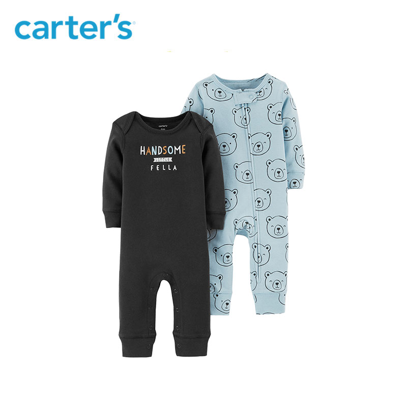 e44ca3555 Carters 2Pcs/lot jumpsuits cute print long sleeve baby girl rompers Soft  cotton newborn baby boy clothes set 126H458/126H653-in Rompers from Mother  & Kids ...