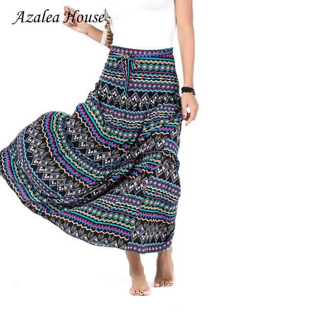 Азалия дом Новинка 2017 года Этническая юбка мода Макси Sexy Для женщин юбка этаж Длина длинная юбка Печать в африканском стиле юбка для Для женщин