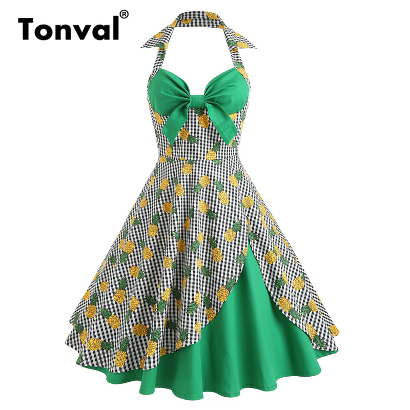 4e31360dc2 2017 New 1950s Vintage Style Polka Dots Print Bowknot Slim Fit Tight ...