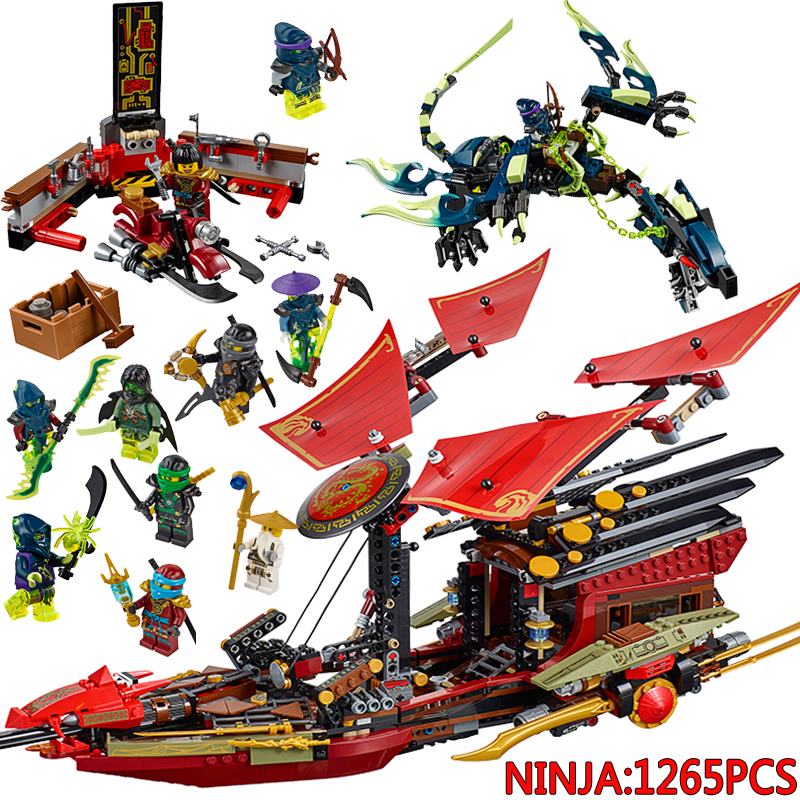 1265pcs Ninja  Model Building Blocks sets Toys Bounty Ninja 70738 Compatible with 10402 Bricks toys gift for children 2016 new ninja kay fight building blocks sets 94 pcs bricks model toys ninjagoes compatible legoelieds toy without retail box