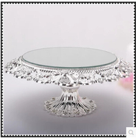 Diameter 20cm Glass Mirror Hollow Tray Wedding Serving Trays Decoration Tray Metal Decorative Bowls DGP049