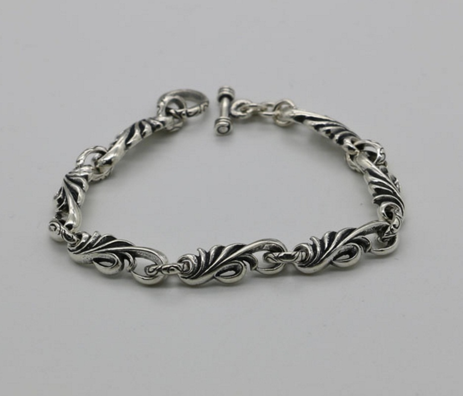 Simple fashion Thai silver bracelet retro creeping grass 925 sterling silver jewelry male jewelry 925 sterling silver thai vintage pendant thai retro men male jewelry chian dragon bracelet ch059082