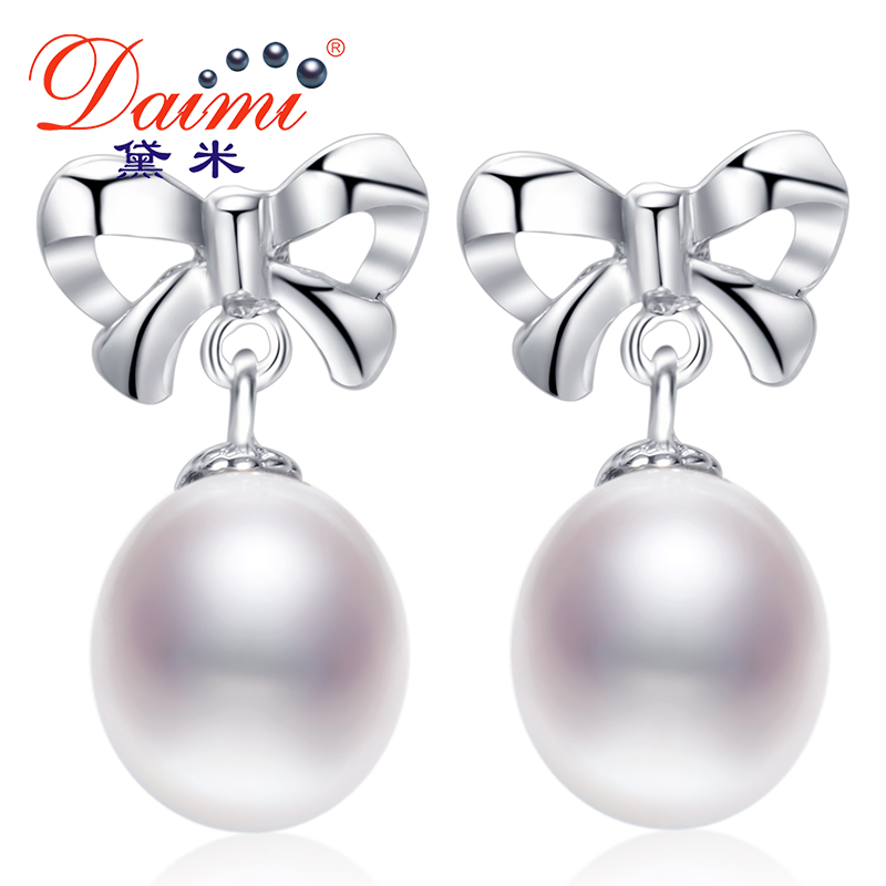 DAIMI 2018 New Cute Freshwater pearl 9-10 mm Pearl Earrings For Women Christmas Gift Drop shape Pearl Jewelry цена 2017