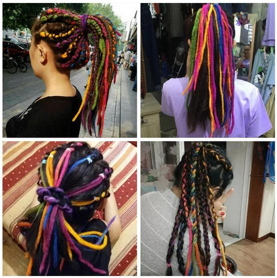 Lottie Long Dreadlock Ponytail Wig Handmade Wool Dread Lock Hair Band Cybergoth Cosplay  ...