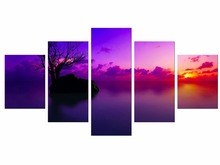 5 Pieces Purple Seascape Beach Sunset Canvas Print Wall Art Tree Oil Painting For Living Room Decor Framed