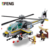 ENLIGHTEN Apache Raid Helicopter Aircraft Building Blocks Sets Compatible ARMY Military Soldiers Bricks Toys for Boys
