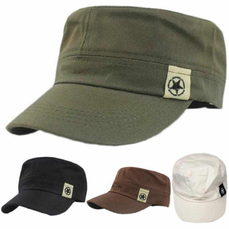b3db9dbd701 2019 NEW Fashion Hat Unisex Women Men Flat Roof Military Hat Cadet Patrol  Bush Hat Baseball