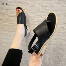BJYL Hollow-Carved Women Sandals 2019 Summer Style Fashion Retro Platform White Breathable Comfortable Shoes B73
