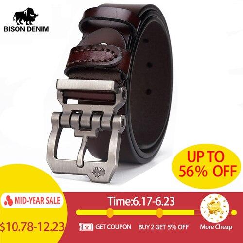 BISON DENIM genuine leather belt for men gift designer jeans belts men's high quality Cowskin Personality buckle Vintage N71223 Pakistan
