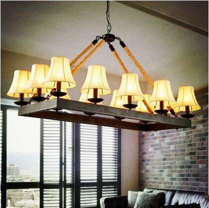 Rustieke Touw Loft Stijl Industriële Hanglamp Met 12 Verlichting ...