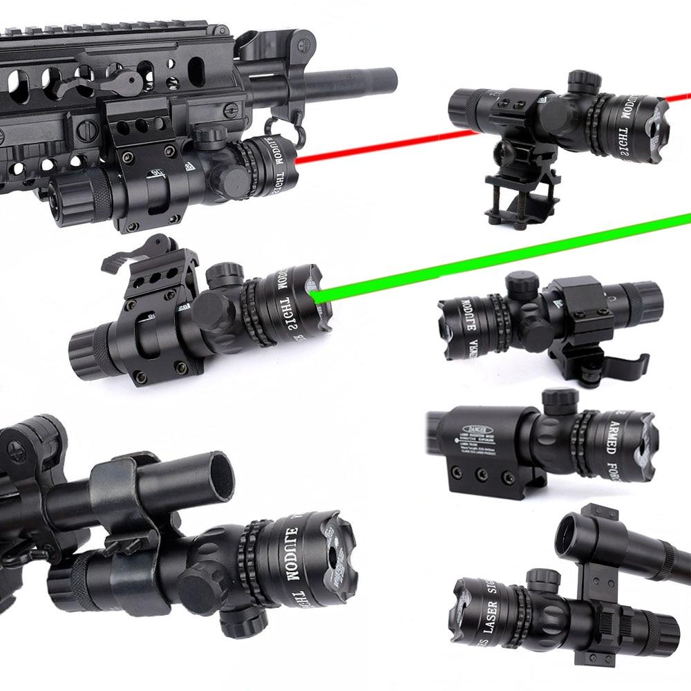 WIPSON ใหม่ยุทธวิธีด้านนอกสีเขียว Cree Red Dot Laser Sight ปรับสวิทช์ปืนไรเฟิลขอบเขต Rail Mount สำหรับปืน