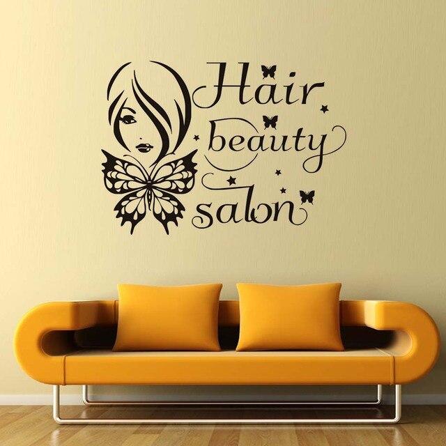 Wall Sticker Mural Decal Female Hair Beauty Salon Butterflies Shop ...
