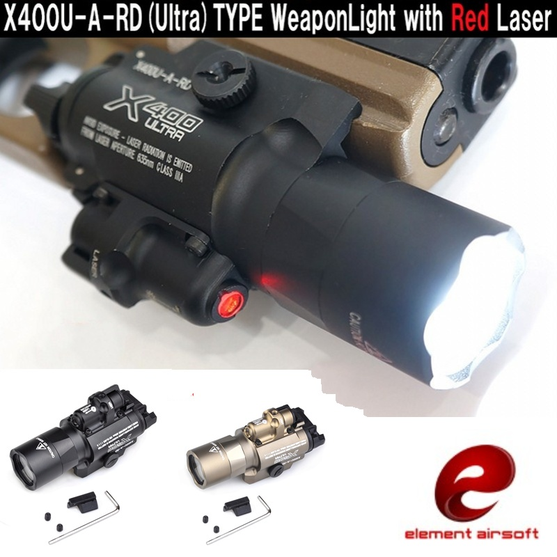 Element Airsoft X400 Ultra LED Tactical Flashlight Hunting Pistol Weapon Light With Red Laser EX367 ex367 element sf x400u ultra led tactical light 20mm picatinny weaver rail weapon light with red laser for pistol or hunting
