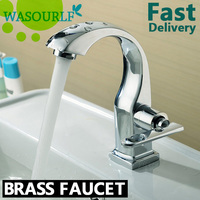 WASOURLF Bathroom brass water single handle faucet basin chrome plated tap modern design high quality free shipping