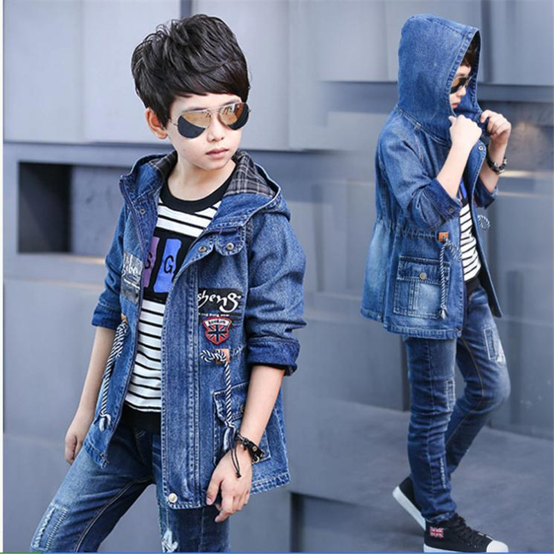 Children clothes 3-14 Outerwear & Coats Jackets Boy 2018 Spring and Autumn Denim jacket big boy new casual long trench coat kimocat boy and girl high quality spring autumn children s cowboy suit version of the big boy cherry embroidery jeans two suits