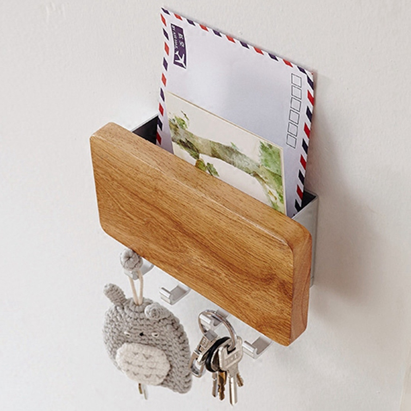 Key Holder, Decorative Wooden Key Chain Rack Hanger Wall Mounted With 4 Hooks, Multiple Mail And Key Holder Organizer For Door