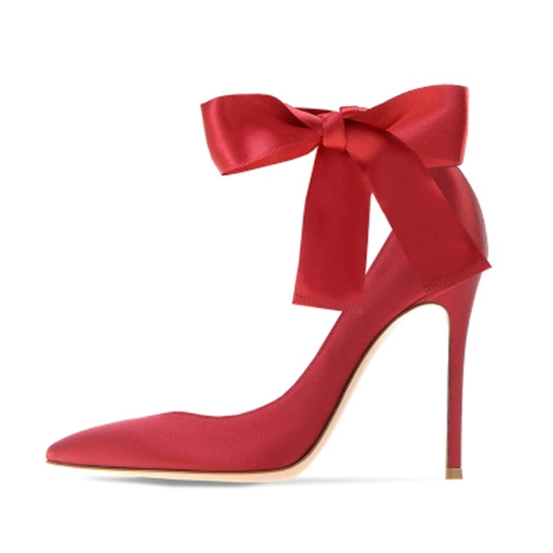 2018 Fashion Women Ankle Strap Thin High Heel Pumps Casual Flock Satin Pointed Toe Lace Up High Heels Wedding Party Shoes moonmeek new arrive spring summer female pumps high heels pointed toe thin heel shallow party wedding flock pumps women shoes