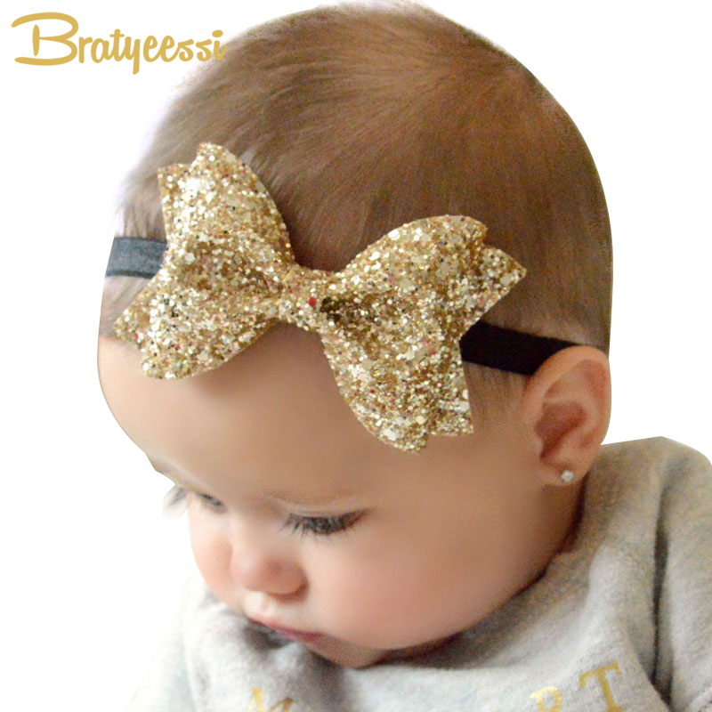 Sparkling Hair Accessories Bow Baby Girl Headbands Elastic Multicolor Infant Baby Headband Birthday Party Headwear 12pcs hair accessories mickey minnie mouse ears solid black sequins headbands headwear for boy girl birthday party celebration