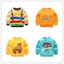 Осенне-зимний свитер для маленьких мальчиков и девочек, теплая куртка, Детская футболка с длинными рукавами, утолщенное нижнее белье