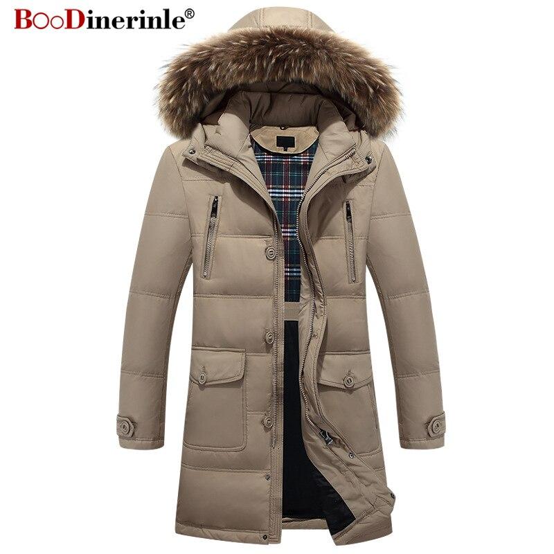 Men's Winter Jacket European Style Men's Thicken White Duck   Down     Coat   Male Fur Collar Detachable Hooded Outwear Parka YR142