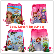 New Disney Princess Sofia Non-woven Fabric Drawstring Backpack Gift Bag Storage Kids Girls favor school bags Party Supplies