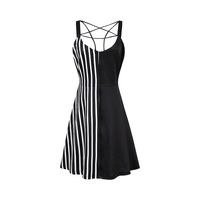 Sisjuly Gothic Dress Black Patchwork Striped Pentagram Hollow Women Summer Dress Goth Fashion Sexy Preppy A