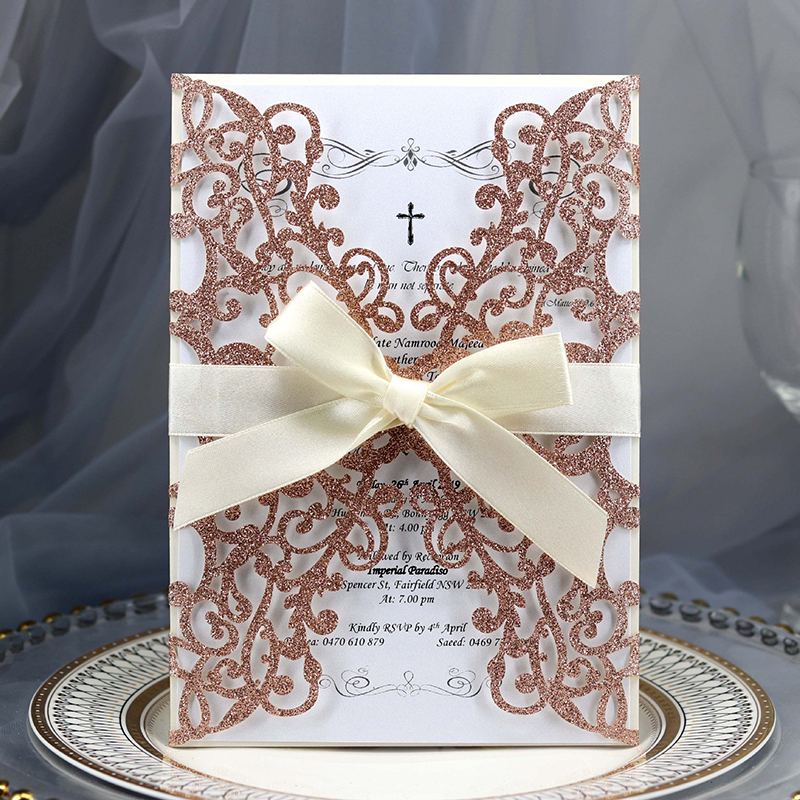 Golden Wine Glasses Personalised Wedding or Party RSVP Cards